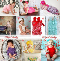 Wholesale 12pce Toddler Baby Girl Lace Posh Pettiskirt Ruffle Rompers Dress Children Fashion Tutu Lace Clothes