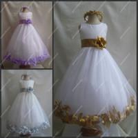 Vestidos de niñas de flores Real Pictures joya escote blanco tul y púrpura marco de la princesa completa bola vestido de bola para los niños