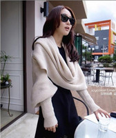 Wholesale Autumn Winter Female Knitted Yarn Solid Scarf Ultra Long Muffler Men Cape With Sleeves Unisex Scarf