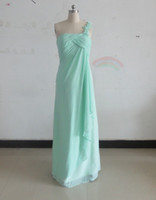 Mint One Shoulder Bridesmaid Dresses Chiffon Empire Evening ...