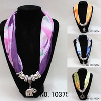 Wholesale 2012 New Fashion Pendant Scarves Charms Scarf Jewelry With Chiffon Antique Silver Mental tb