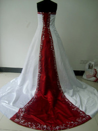 Wholesale New White with Wine Red Strapless Satin With Embroidery Real picture Wedding Dresses