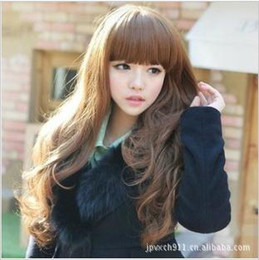 Wholesale Sell like hot cakes wig long roll fleeciness neat bang wig set of curly hair girl long hair wigs fre