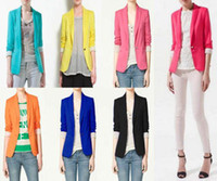 Wholesale Q019 New Womens Tunic Foldable sleeve Blazer Jacket Colour fit UK AU Size XS S M L