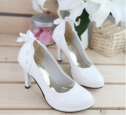 Wholesale cheap newest women lady s popular bow Round shoes pink white heel comfortable wedding work shoes