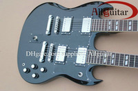 Solid Body 6 Strings Mahogany black 1275 Double neck electric guitar China Guitar