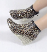 Wholesale newest women man multi styles Leopard wedge rain boots wellies galoshes comfortable cm heel shoes