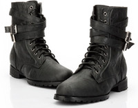 Wholesale Leather Men s Ankle Boots Punk Black Detachable Buckles Lace Up Side Zipper Shoes US Size