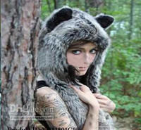 Wholesale winter Scarf Gloves Animal Hats Faux Fur Head Hood Woman Fashion soft Cartoon animal Head Hat