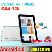 Wholesale 10pcs AMPE A76 inch Android Tablet PC Allwinner A13 GHz M GB WIFI D Game PB07 A6