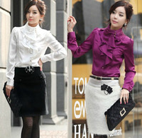 Wholesale Hot Womens Fashion Elegant Faux Silk Stand Collar Ruffled Puff Sleeve Tops Shirt Purple Khaki White