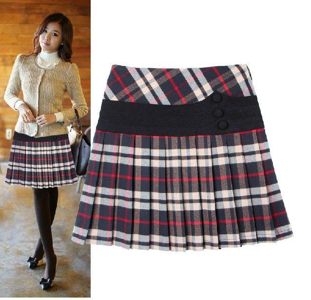 2017 Wool Coats Women's Lattice Pleated Skirt Waist Short Bust ...