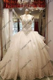 Wholesale China Custom Made Sex Dazzling Beadings Robe de mariée à encolure en longueur au sol