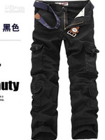 Wholesale New CASUAL MILITARY ARMY CARGO CAMO COMBAT WORK PANTS TROUSERS Cargo Pants SIZE black