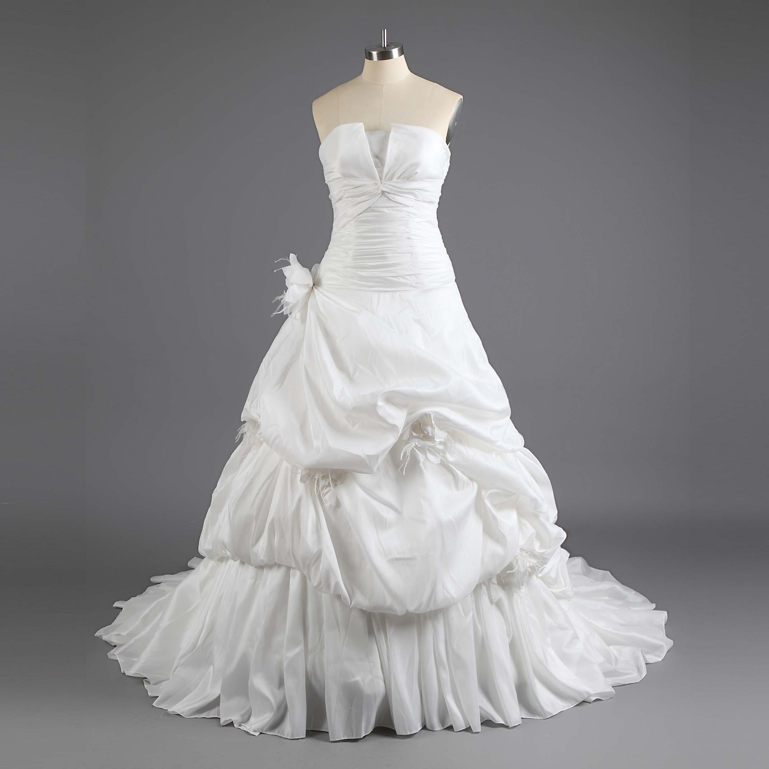 Style taffeta corset wedding dresses tiered hand made flower luxury