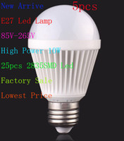 Wholesale 5X New arrive E27 W LED Lamp led Globe Light Spotlight Led Bulbs V V