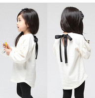 Wholesale Spring Autumn Milk White Cute Pretty Years Baby Girl s Long Sleeve T shirt Tied A Ribbon