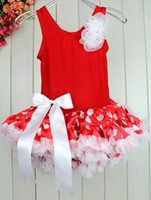 Wholesale Christmas Girl Petti Dress Party Red Dot Lace Princess Dress Novely And Beautiful Children Clothing