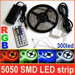 led strips Waterproof 300led SMD 5050 RGB LED Strip Light+ 44 Keys Remote IR Controller+12V 6A Power Supply free shipping DHL