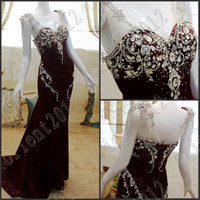 Wholesale 2014 Dazzing Sexy Cap Sleeves Evening dress New Crystals Dark Red Evening Party Gowns Prom Dresses