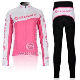 WOMEN'S WINTER FLEECE THERMAL LONG CYCLING WEAR + PANTS BIKE CLOTHES 2012 GIANT PINK-SIZE:XS-XXL