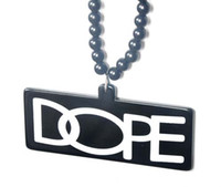 Wholesale DOPE Hiphop fashion Pendants Stainless steel Rosary Bead acrylic Necklaces