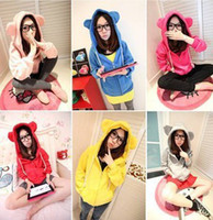 7 colors Cute cotton blended love bear ears hoodies sweaters...