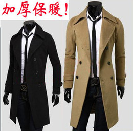 Wholesale thickening cashmere coat mens outerwear woolen slim overcoat mens overcoat dropship