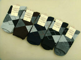 Wholesale Argyle Business Socks Cotton Crew Socks Thick Mens Socks Warm Hosiery Socks Winter Pairs MJNL