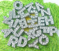 Wholesale mm A Z full rhinestone slide letters DIY accessories fit mm bracelet