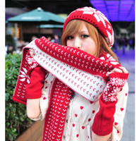 Wholesale Fashion Winter Beanies Warm knitting Hats amp Scarves amp Gloves Sets Boreal Europe amorous feelings