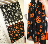 Wholesale New Fashion Skull Design Velvet Chiffon Scarf Shawl black white mix color