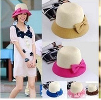 Wholesale Fashion Ladies Spell Color Butterfly Beach Hat Straw Cap Sun Hat Top Hat Korean Style