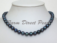Wholesale New Fine Pearl Jewelry Cultured Freshwater mm Black Pearl Necklace silver clasp