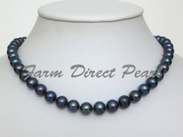 New Fine Pearl Jewelry Cultured Freshwater 8-9mm Black Pearl Necklace 18' 925 silver clasp