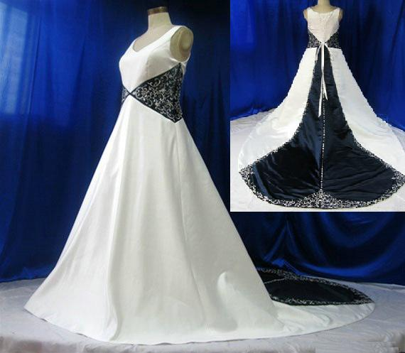 Discount White And Navy Blue Mix V Neckline Embroidery Satin A ...