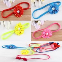 Wholesale Top Baby Flower Headbands Kids Hair Ornament Children Hair Accessoriy Dot Pearl Headband Fashion