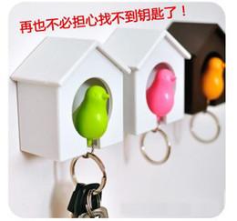 Wholesale AAA Bird Nest Sparrow Key Ring Whistle Key Rings Keyholder Anti lost Key Seat Bird House Key pendant