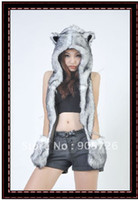 Wholesale New hot sale Fashion cap SPIRIT FLUFFY PLUSH ANIMAL HOOD HATS WITH LONG SCARF AND MITTENS