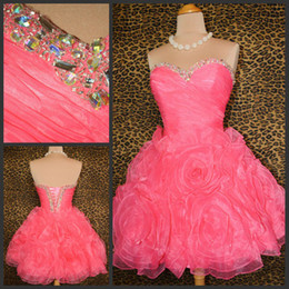 Wholesale 2013 Cheap Customized Sweetheart A Line Mini Beads Coral Organza Homecoming Dresses Party Prom Gowns