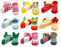 Wholesale Baby socks with cartoon animals decorated cotton infant shoe socks multi colors