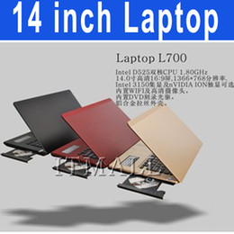 Wholesale 14 inch Laptop with DVD ROM Windows OS Notebook Intel Atom D2500 Dual core Netbook GHz HDMI