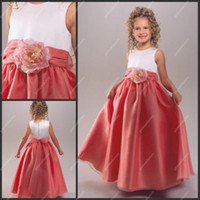 Wholesale Lovely Jewel Neckline White and Coral Satin Flower Girl Dress Hot Sale Ball Gowns for Children with D Flower
