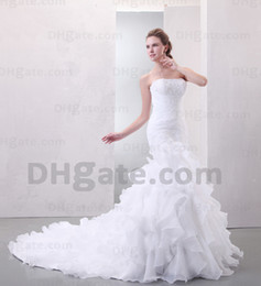 Wholesale 2012 Sexy Sweetheart Beaded Organza Layered Mermaid Applique Court Train Wedding Dresses PR03037