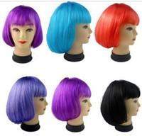 Wholesale 15pcs shor bob wig cosplay Halloween colorful wig bobo design short staight hair mix color