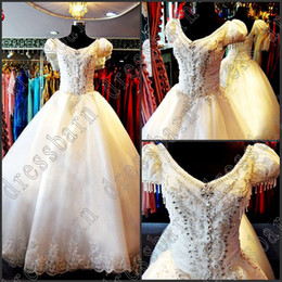 Wholesale Classic Ladies Photos - 2016 Classic Dazzing Princess Short sleeve Ball Gown Crystals ivory lady wedding dresses bride dress Custom Made
