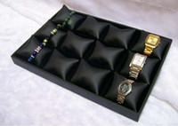 Wholesale Fashion Jewelry display Bracelet and watchs Display black PU lether jewelry tray