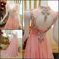 Real Photos Sweetheart Chiffon Free Shipping A-Line Sexy Cap Sleeves Evening dress Crystals Pink Evening Party Gowns Prom Dresses Robe de Soiree