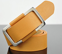 Wholesale New men s fashion concise colors belt Stylish Faux Leather Metal Buckle Belt