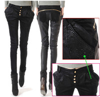 Wholesale women s brand fashion sexy PU splicing leather pants cowboy harlan pants